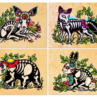 Day of the Dead Art Prints Skeleton WOODLAND ANIMALS - Deer, Fox, Rabbit, Bear - 5 x 7, 8 x 10, or 11 x 14 - Set of Four