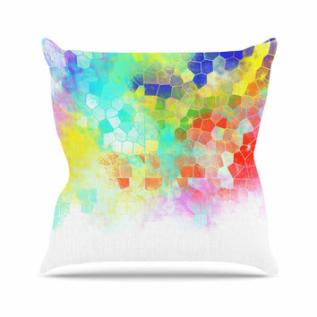 "Dan Sekanwagi ""Color Structure"" Colorful Abstract Outdoor Throw Pillow"