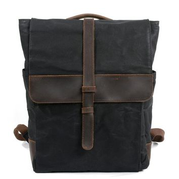 School Backpack trendy New Men Backpack Vintage Leather Canvas Backpack School Portable Wearproof Travel Bag Women Rucksack Knapsack Bagpack mochila AT_54_4
