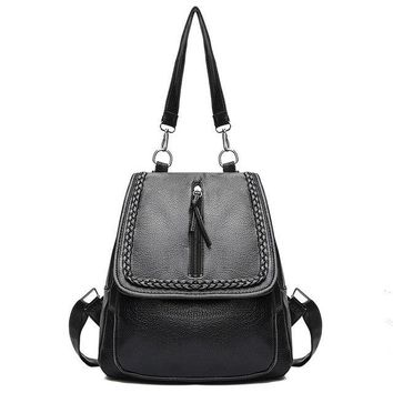 University College Backpack new fashion pu leather women  brand black girl student traveling  book bag AT_63_4