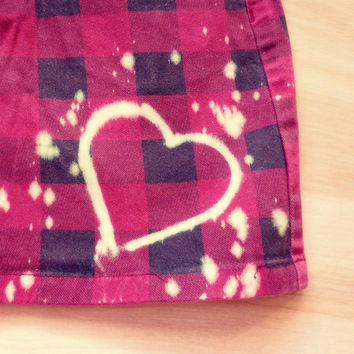 Upcycled Red and Black Checkered Skirt with Hearts