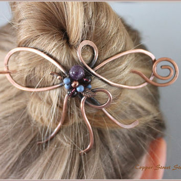 Hair Slide Bow Shape with Purple Amethyst Stones, Copper Leaves, and Blue Glass Beads, Copper Bun Holder, Copper Wire Hair Pin, Colorful