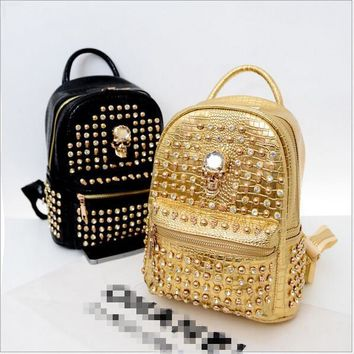 2015 new Korean backpack travel backpack tide rivet diamond skull crocodile very stylish elements that you deserve