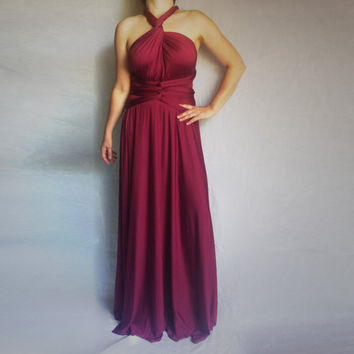 Convertible Infinity Multi Way Long Wedding and Bridesmaid Dress in Burgundy - Custom Order to Your Size