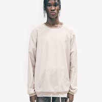 Mesh Pocket Nylon Crewneck in Cream