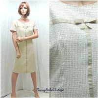 Vintage 70s neutral beige baby doll dress 10/12 1970s retro hounds tooth shift dress mod mad men secretary dress M SunnyBohoVintage