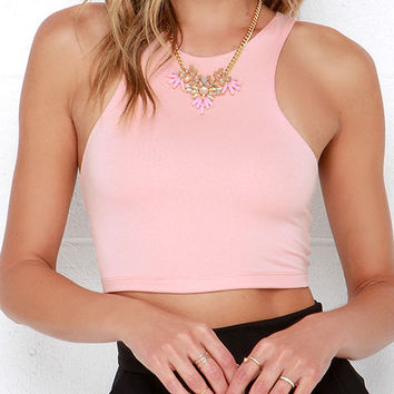 Pink Sleeveless Racer Back Cropped Top