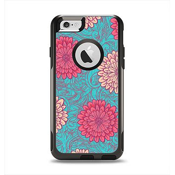 The Pink & Blue Floral Illustration Apple iPhone 6 Otterbox Commuter Case Skin Set