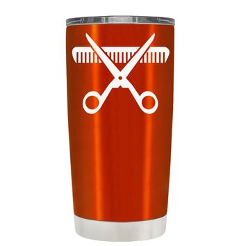 HairStylist Scissor and Comb Silhouette on Translucent Orange 20 oz Tumbler Cup