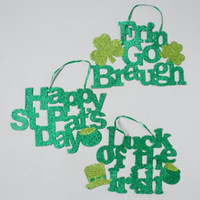 st. patrick's day assorted glittered hanging decor Case of 72