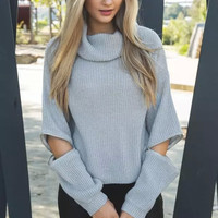 Turtleneck Cutout Sleeve Knitted Sweater
