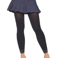 Lace Trimmed Opaque Footless Tights (One Size,Black)