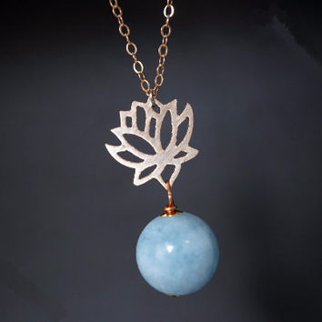 Aquamarine Necklace Rose Gold Filled Necklace AAA 14mm Genuine Aquamarine Necklace Rose Gold Lotus Necklace Gift For Mom Gift For Her