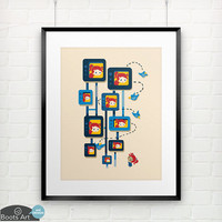 Me Myself and Some Birds - matted art print. 5x7 or 8x10. Modern design art print.