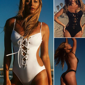Summer NEW Women's Hollow Out One Piece Push Up Padded Bikini Swimsuit Swimwear Bathing Monokini-0408