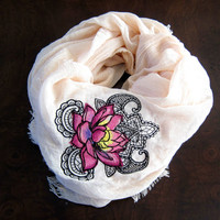 Womens BeigeLightweight Scarf/Shawl-Sheer Beige Summer Scarf-Embroidered Pink Lotus Flower Design-Embroidered Shawl-Large Beige Scarf