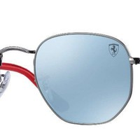 Ray-Ban RB3548NM Scuderria Ferrari Collection Hexagonal Sunglasses (Gunmetal, Si