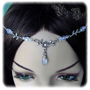 Floral Crystal Renaissance Medieval Celtic Circlet Headpiece Headdress Wedding Bridal Prom Crystal AB