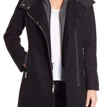 Marc by Andrew Marc Hooded Bib Front Boiled Wool Jacket | Nordstrom