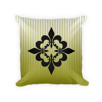 Quatre Fleur de Lis Woven Cotton Throw Pillow