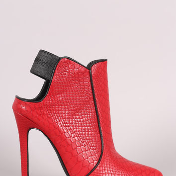 Privileged Snake Pointy Toe Stiletto Heeled Booties
