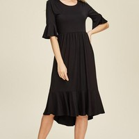Reborn J Crop Bell Sleeve Hi Lo Dress - Black