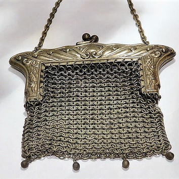 Antique German Silver Purse Art Nouveau 1900s Victorian Coin Purse Chain Metal Steel Mesh Chainmaille Handbag Bag Coin Pouch Wedding Bride