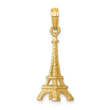 14K Yellow Gold Solid Polished 3-D Eiffel Tower Charm