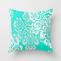 Tiffany Blue Damask Throw Pillow by hhprint | Society6