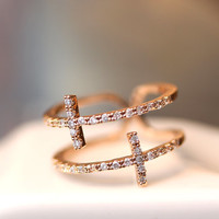Sideways Mc Double Cross Ring Adjustable Crystal Silver / Rose Gold plated