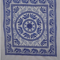 Mandala Wall Hanging, Elephant Wall Tapestries, Blue Bedspread, Dorm Decor Hippie Tapestry, Queen Bedding, Cotton Wall Art