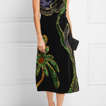 Prada - Appliquéd paneled velvet dress