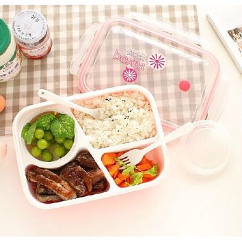 4 Cells Healthy Plastic Food Container 1000ml Multifunction Adults Lady Kid Lunchbox Microwaveable Lunch Bento Box