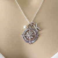 Compass, Personalized, Initial, Pearl, Silver, Necklace, Personalized, Compass, Necklace, Best Friend, Necklace, Gift, Jewelry