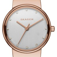 Women's Skagen 'Ancher' Crystal Index Leather Strap Watch, 26mm - White/ Rose Gold (Nordstrom Exclusive)