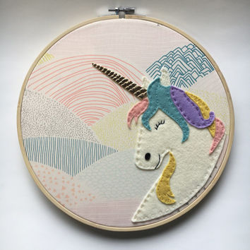 Embroidery Hoop Art, Unicorn, Wall Art, Nursery Room Decor, Mountain fabric, rainbow mane, gold horn