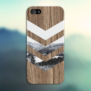 Black and White Snow Forest Chevron Brown Wood Phone Case, Galaxy s7 Case, Tough Case iPhone 6, Samsung s7 edge, Case Escape, iPhone 6s Plus