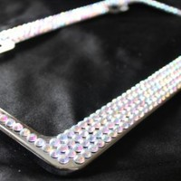 4 Row CRYSTAL AB Rhinestone Sparkle Diamond Metal Bling License Plate Frame and 2 Screw Caps