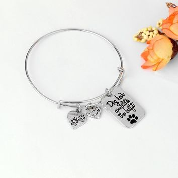 Hot Dog Paws Footprints Bangle Heart Bracelet For Love Women Bracelets Charm Party Friend Jewelry Dropshipping