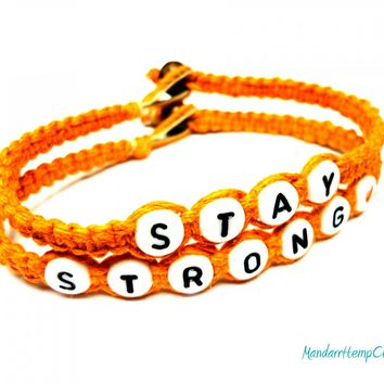 Bracelets for Recovery, Stay Strong, Orange Macrame Hemp Jewelry, Made to Order - $17.00 - Handmade Jewelry, Crafts and Unique Gifts by MandarrHempCreations