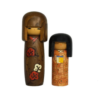 Pair of Vintage Handmade Japanese Kokeshi Dolls / Set of 2 / Instant Collection / Cute Wooden Kawaii Figures / Figurines / Home Decor