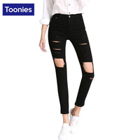Spring Woman Jeans Knees Big Hole Street Kpop Slim Black Denim Cotton Jeans Pants Sexy Hip-hop European Ripped Trousers Femme