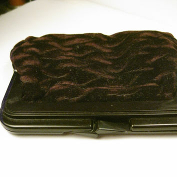 Vintage Deep Brown/Eggplant Textured Velvet Clutch Purse, Brown Plastic hinged, clam shell opening