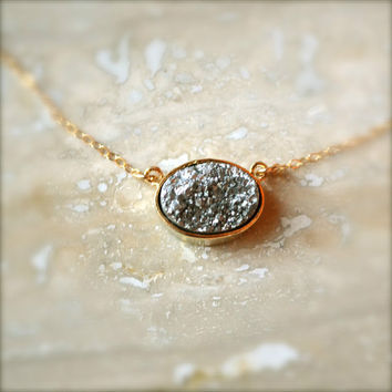 Simple Silver Oval Druzy Necklace on Gold Chain