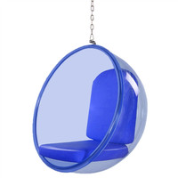 Modern Bubble Hanging Chair Blue Acrylic, Blue