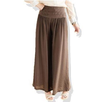 Woman Plus Size Solid Elastic Waist Mid ankle length Flax Wide Leg Pants Female Oversized Summer Loose Thin Cotton Capris
