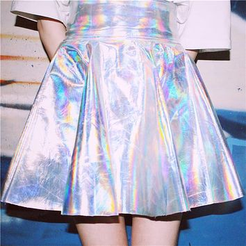 Ulzzang Metalic Vintage Harajuku Fluorescence Metal Silver Skirts 2017 Female Shiny Psychedelic Laser High Waist PU Puff Skirts