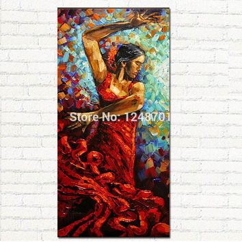 Flamenco Dancer Oil Painting Palette Knife Thick TEXTURED ART CANVAS HANDPAINTED