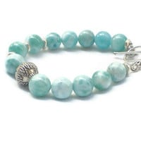 Larimar Bracelet with Larimar round beads by DOMINICANLOUNGE