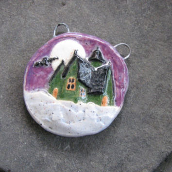 Ceramic Haunted House Halloween spooky pendant